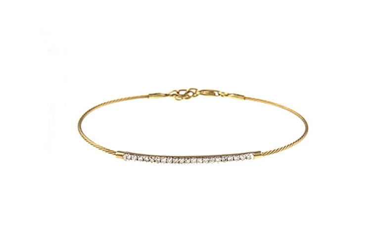 14K Diamond Bar Bracelet on Cable Chain