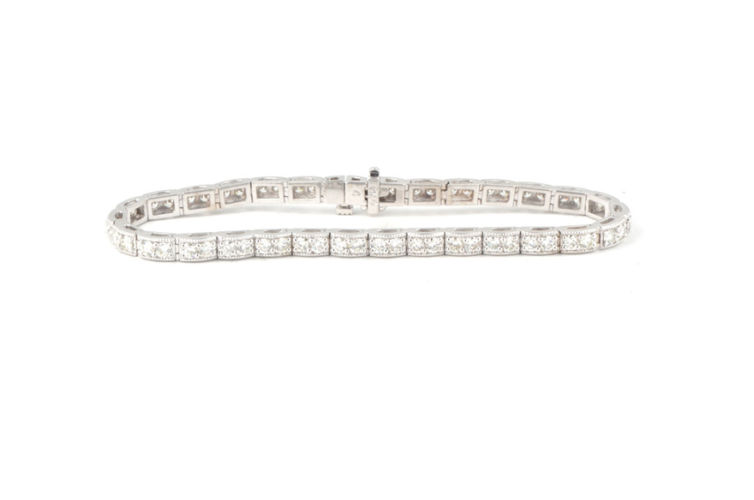14K 4.08ct Diamond Tennis Bracelet with Milgrain Detail
