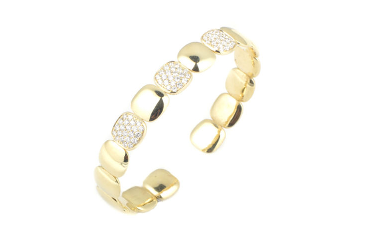 14K Square Diamond Cuff