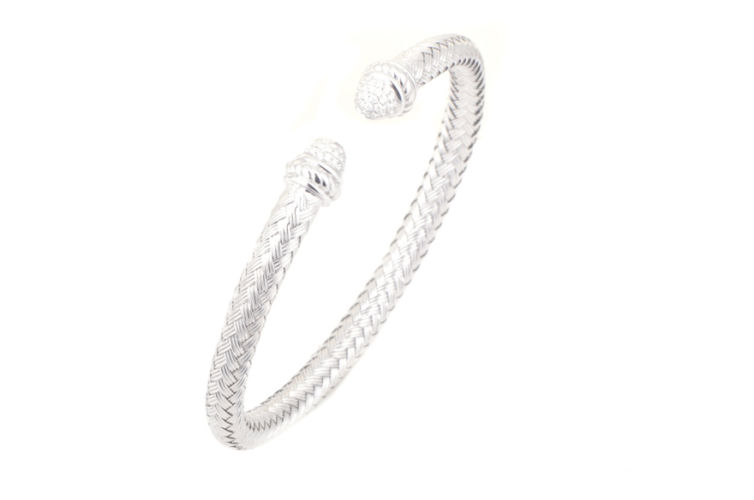 Silver Basket Weave 5mm Cuff with Diamonds
