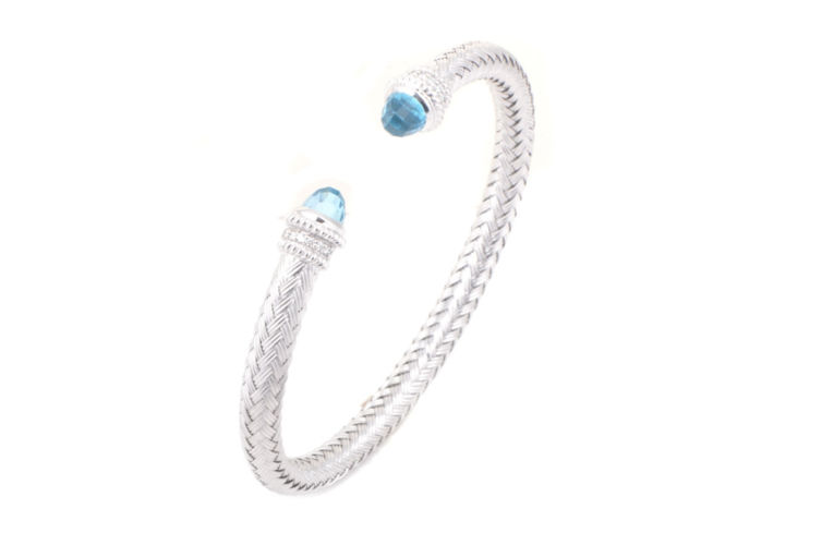 Silver Basket Weave 5mm Cuff with Blue Topaz and Diamonds