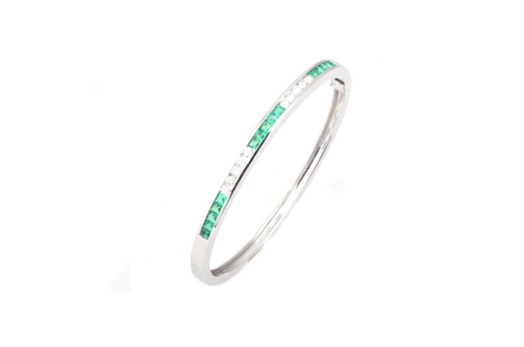14K Emerald and Diamond Channel Set Bangle