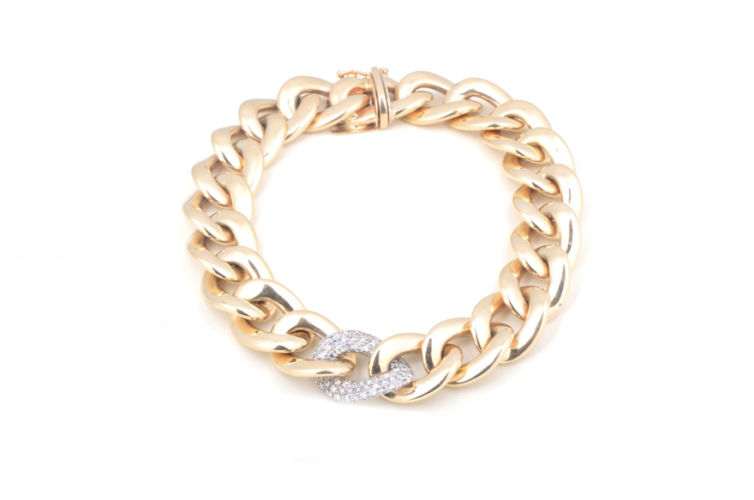 14K Chain Bracelet with Diamond Station