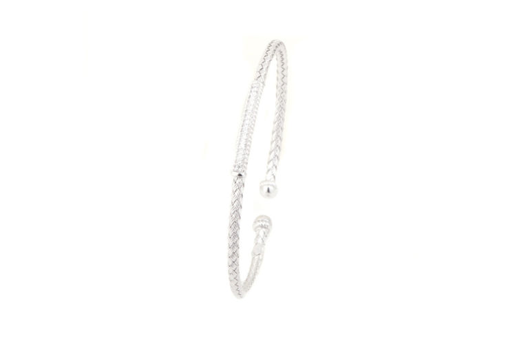 Silver Basket Weave 4mm Pave Diamond Bar Cuff