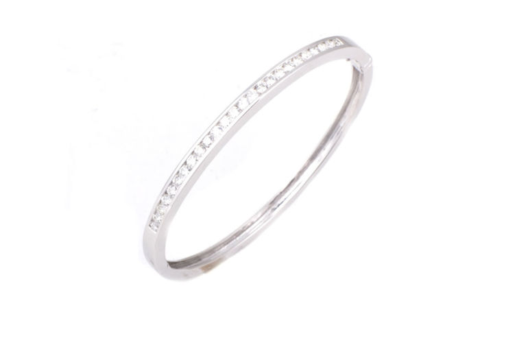 14K Diamond Channel Set Bangle