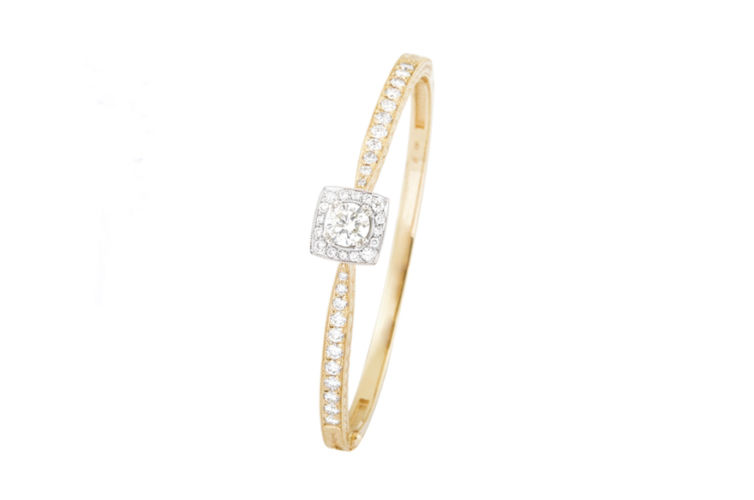 14K Engraved Diamond Bangle Bracelet with Cushion Halo