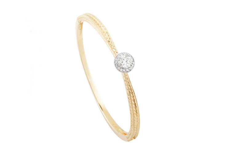 14K Engraved Diamond Bangle Bracelet
