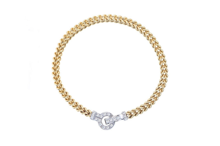 14K Bracelet with Diamond Knot Clasp