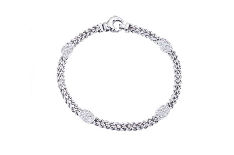 14K Bracelet with Oval Diamond Stations