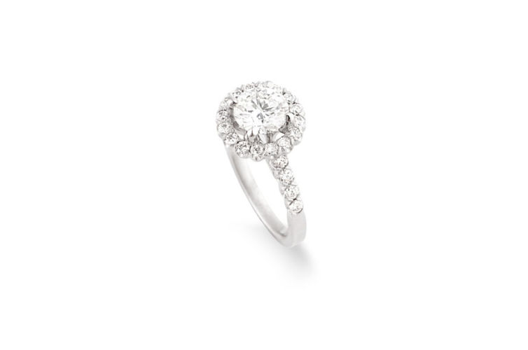 14K Round Brilliant Cut Diamond with Halo Engagement Ring