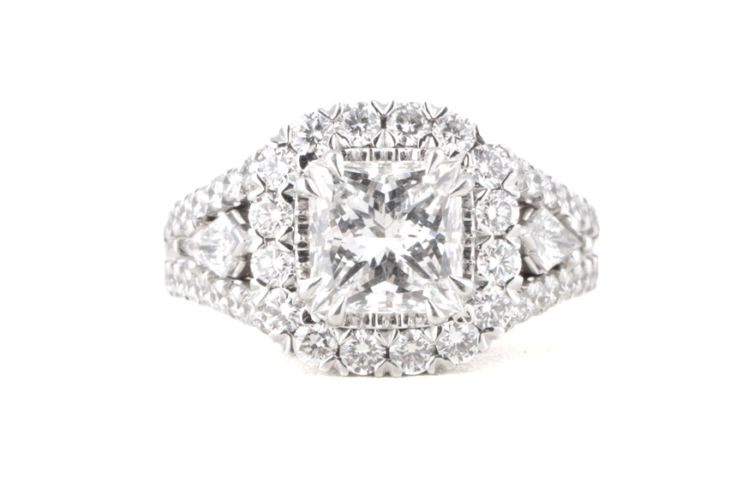 18K Princess Cut Diamond with Cushion Halo and Split Shank