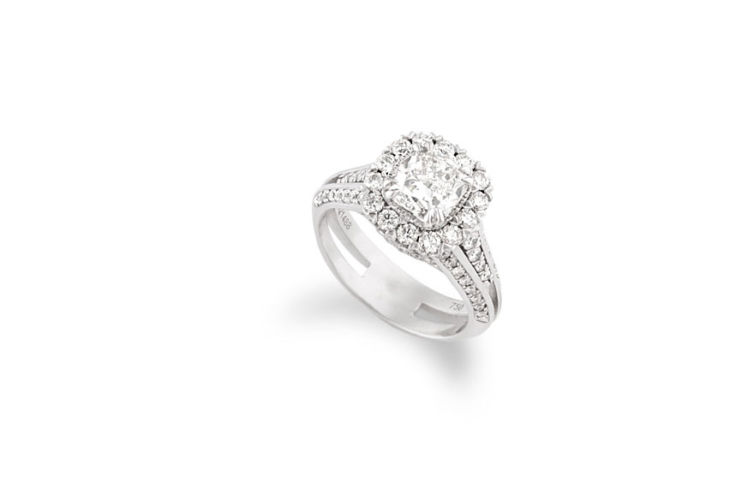 18K Cushion Cut Diamond with Halo Engagement Ring