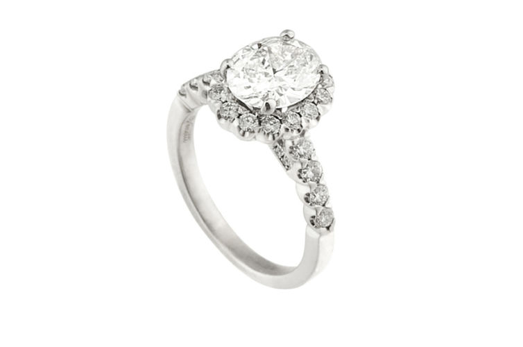 14K Oval Diamond with Halo Engagement Ring