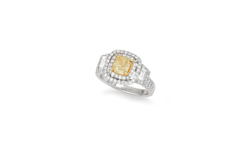 18K Canary Diamond with Double Halo Diamond Ring