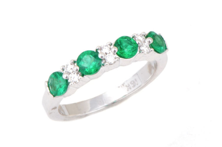18K Emerald and Diamond Band