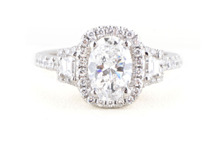 14K Oval Diamond with Baguettes Halo Design Ring