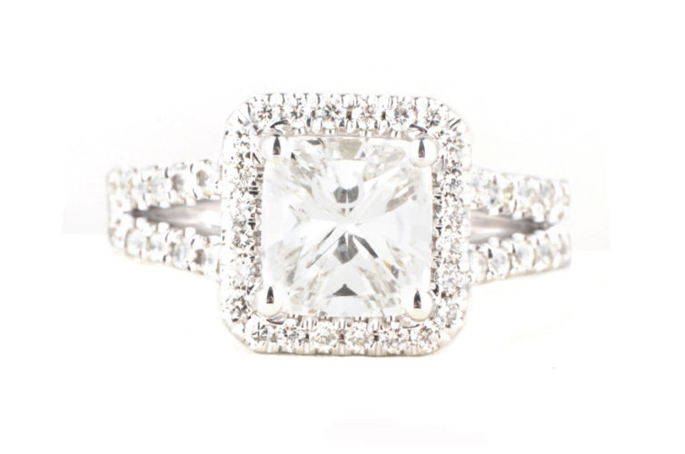 18K Cushion Cut with Cut Corner Halo and Split Shank Ring