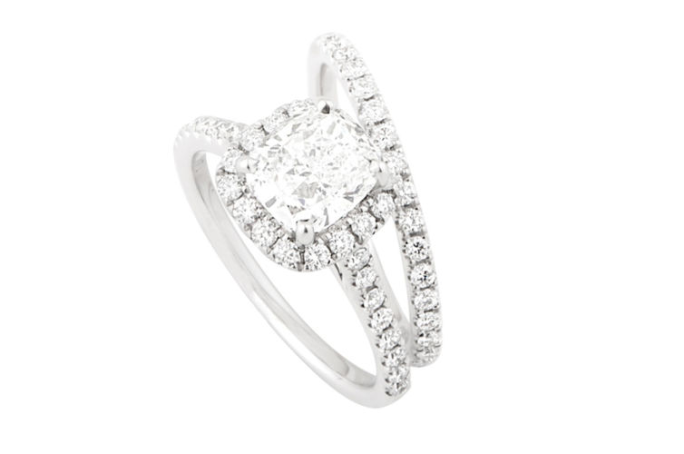 14K Cushion Diamond Halo Ring Set