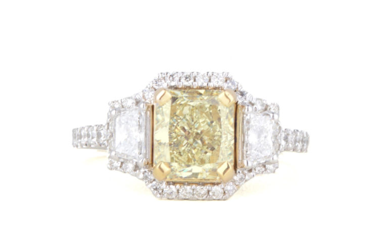 18K Fancy Yellow Radiant with Trapezoids and Halo