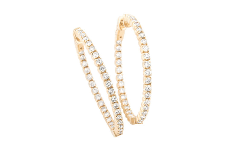 14K Yellow Gold Diamond In/Out Hoop Earrings