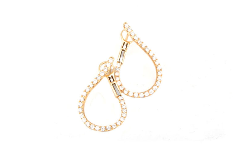 18K Open Cut Tear Drop Hoop Earring