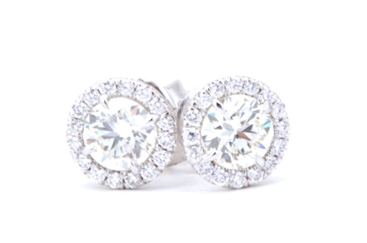 18K Diamond Stud Earring with Attached Halo