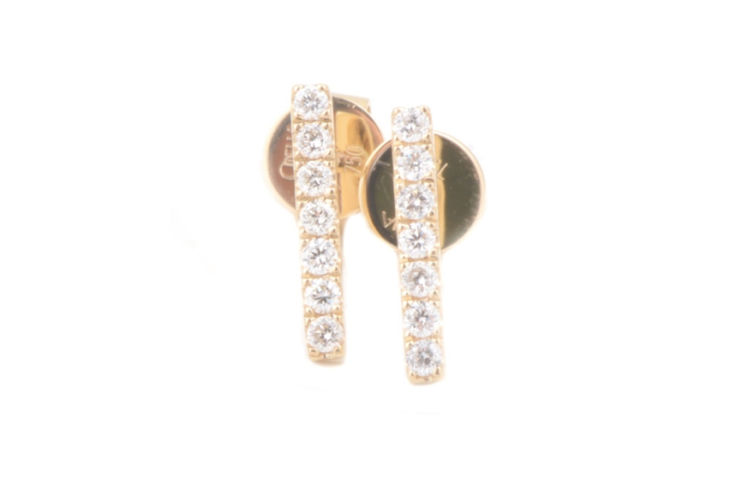 14K Diamond Bar Earring