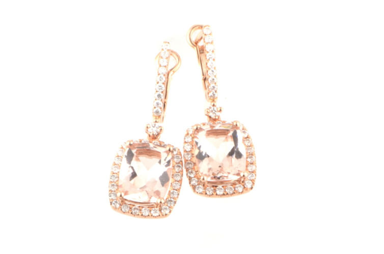 18K Cushion Morganite and Diamond Earrings