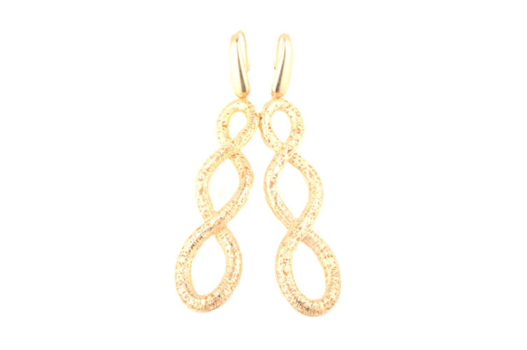 18K Diamond Cut Infinity Link Earrings