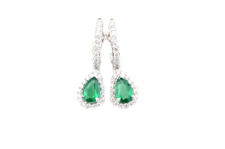 14K Pear Shape Emerald Earrings with Diamond Halo