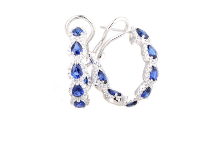 18K Pear Shape Sapphire and Diamond Hoop Earring