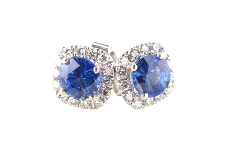 14K Round Sapphire with Diamond Halo Stud Earring