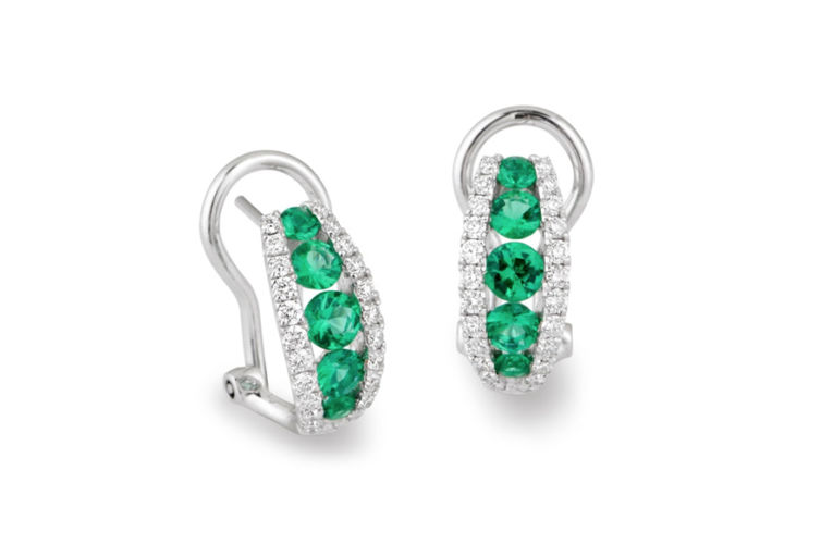 18K Emerald and Diamond Earrings