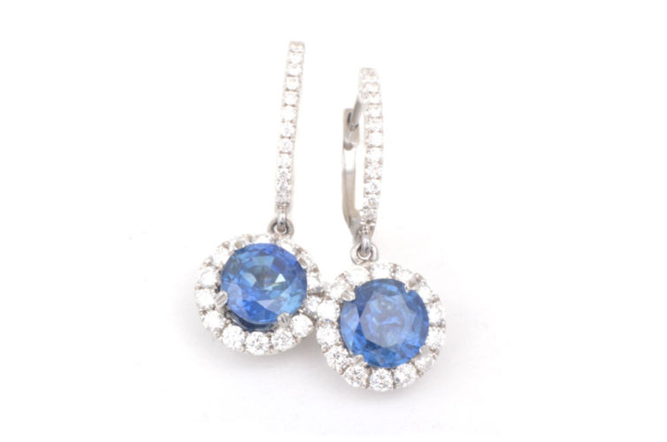 18K Sapphire with Diamond Halo Dangle Earring