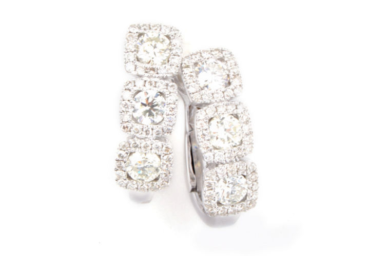 18K 3 Stone Round Diamond with Cushion Halo Earrings