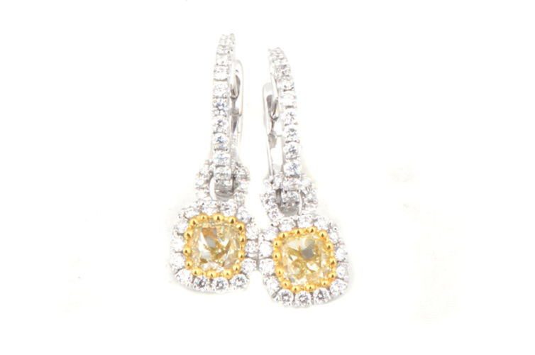 18K Yellow Diamond with Halo Dangle Earrings