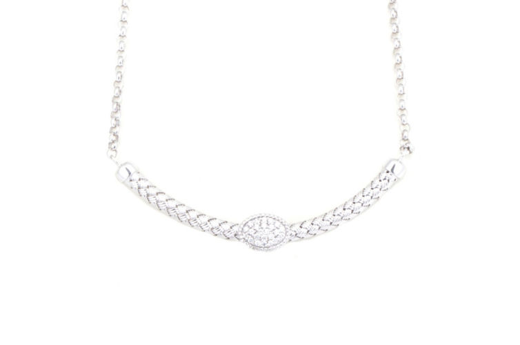 Silver Basket Weave Curved Bar Necklace with Pave Diamond Station