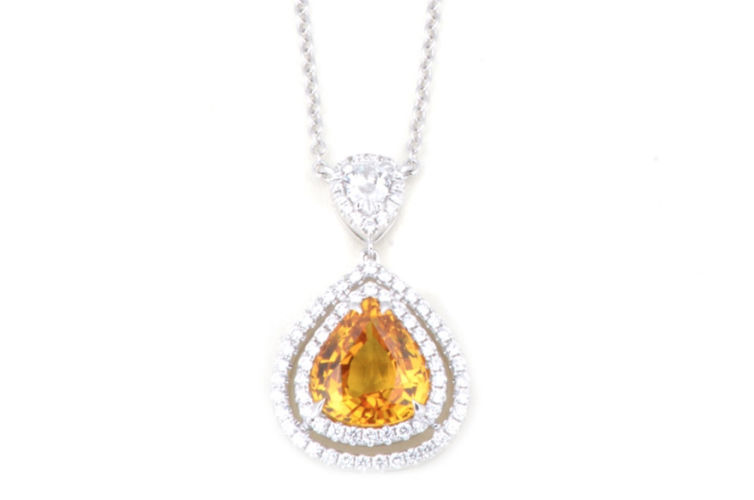 18K Pear Shape Yellow Sapphire with Double Diamond Halo Pendant