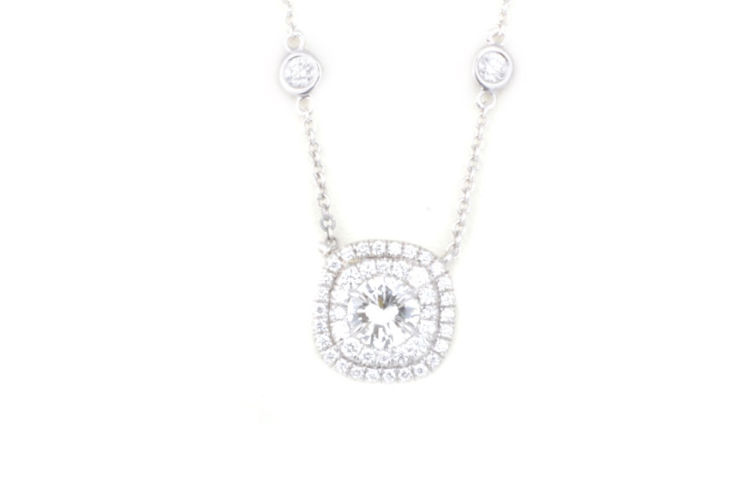 18K White Gold Diamond Pendant with Double Halo on DBY Chain