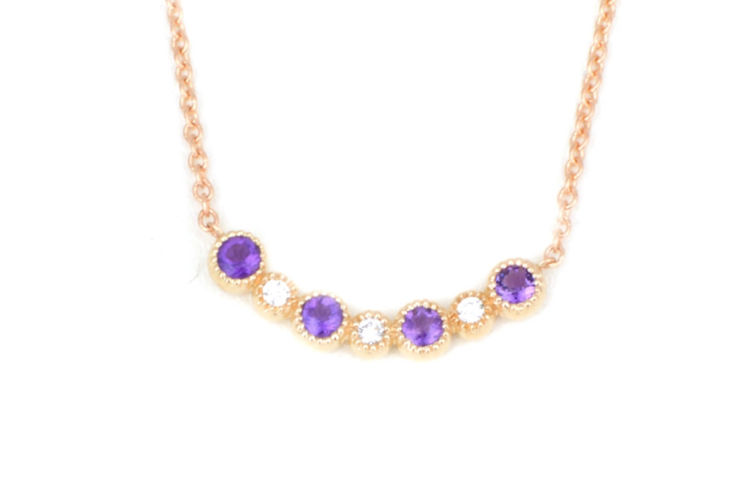 "14K Amethyst and Diamond ""Smile"" Necklace"