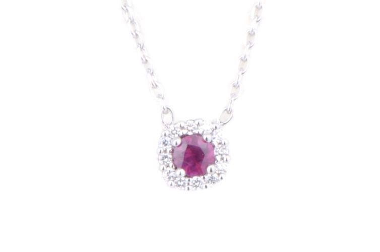 14K Ruby Necklace with Diamond Halo