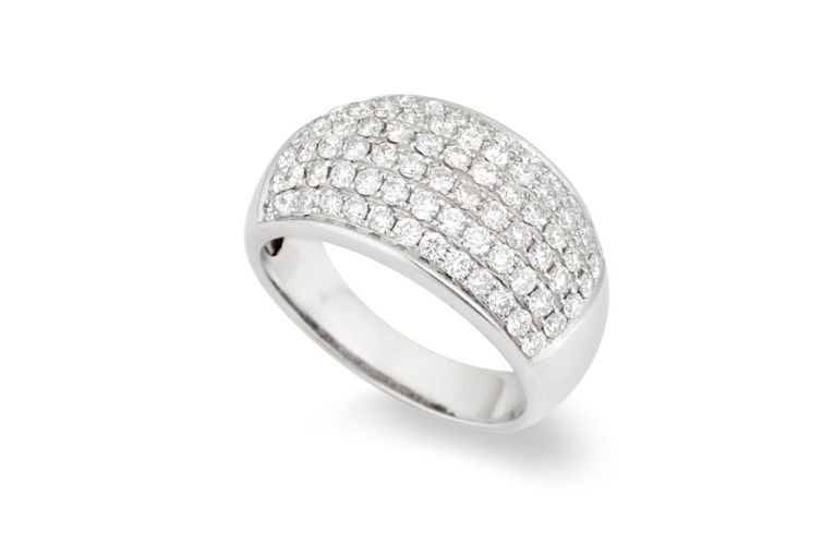 14K 6 Row Pave Diamond Domed Band