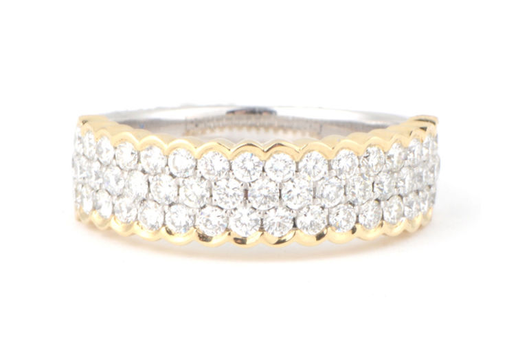 14K Pave Diamond Band with Yellow Gold Edging