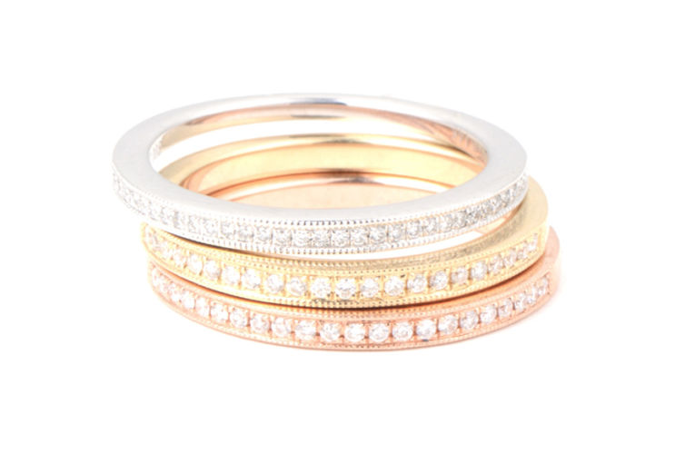 14K Tri Gold Ring Stack