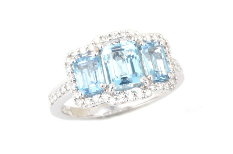 14K Three Stone Aquamarine and Diamond Ring