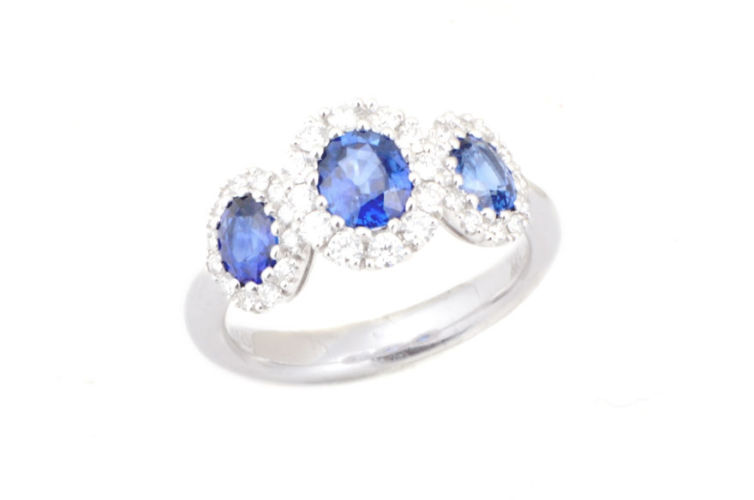 18K 3 Stone Sapphire with Diamond Halo's Ring