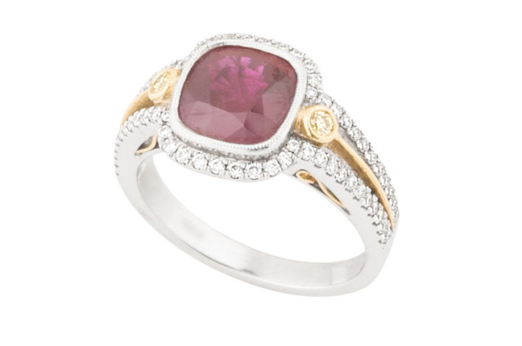 18K Two-Tone Ruby and Diamond Ring