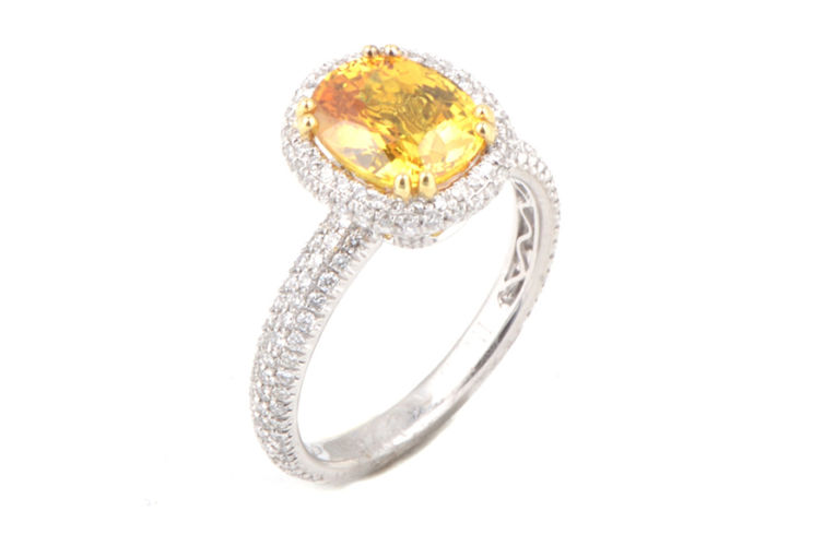 18K Pave Diamond with Yellow Sapphire Ring