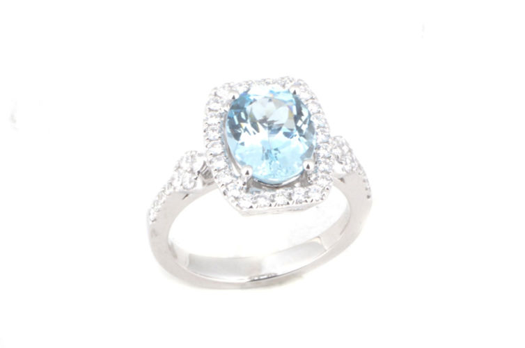 14K Oval Aquamarine with Elongated Cushion Diamond Halo Ring