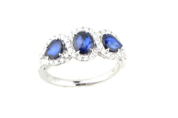 18K 3 Stone Oval and Pear Shape Sapphire and Diamond Ring
